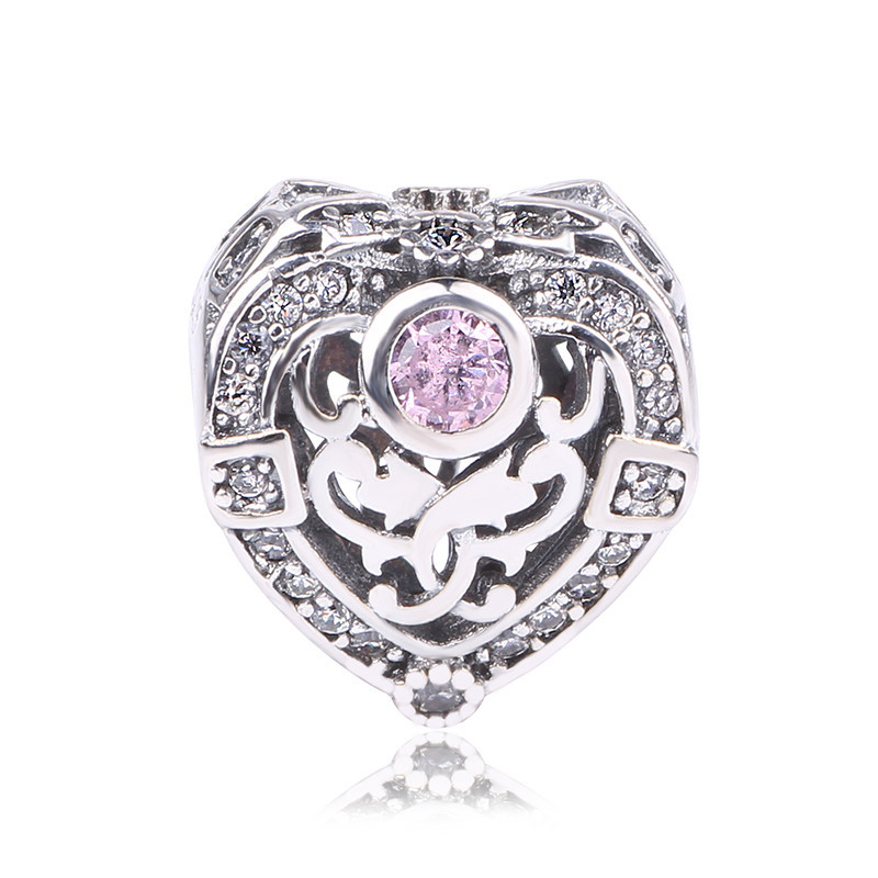 Couqcy Pink 100% Authentic 925 Sterling Silver Heart Shape Charm Beads Fit Pandora Bracelets & Bangles Original Jewelry By Gift