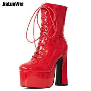 Image 4 - Jialuowei 2019 novo 15 cm super alta plataforma de salto grosso botas de tornozelo feminino rendas up apontou toe bloco quadrado salto sapatos de senhoras