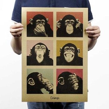 Hot Sellers Vintage Poster Gorilla Bar Counter Adornment Kitchen Retro Kraft Paper Posters,Movie Poster Wall Stickers 51*35CM — stackexchange