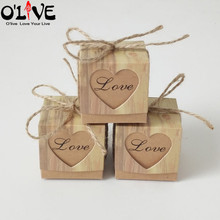 50 Pcs Kraft Heart Candy Box Rustic Wedding Decoration Party Favors Vintage Gift Wrap Chocolate Bonbonniere Packaging