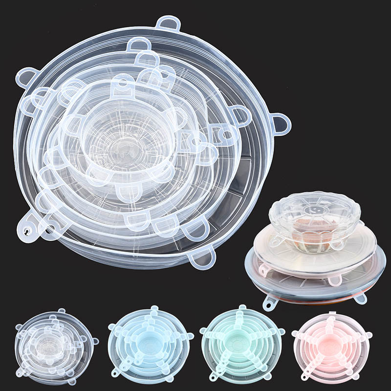 6 шт., кухонные универсальные аксессуары, силиконовые многоразовые чаши для еды, крышка для кастрюли, силиконовые эластичные крышки, кухонные принадлежности        АлиЭкспресс