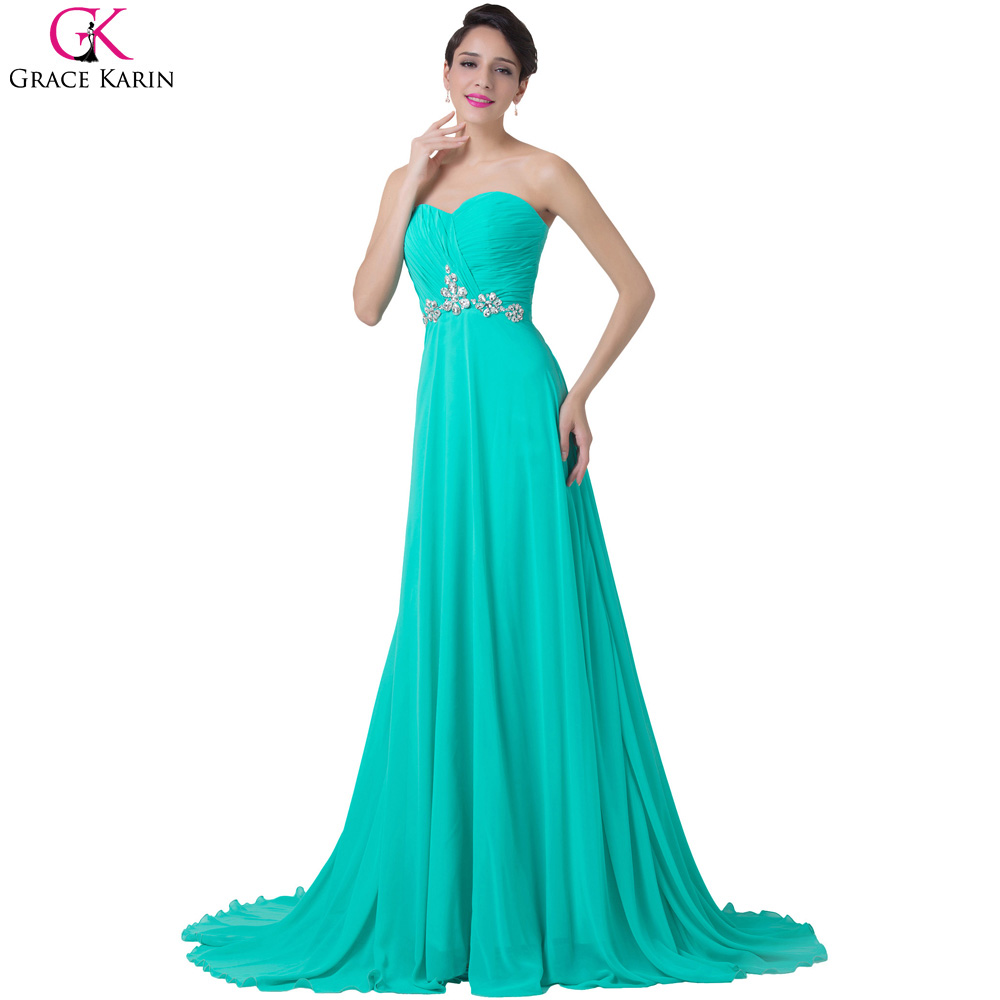 Vestidos de noche color azul turquesa - Grace Karin Turquesa Vestidos De Noche 2017 Vestidos De Noche Formales Vestido De Fiesta De Gasa
