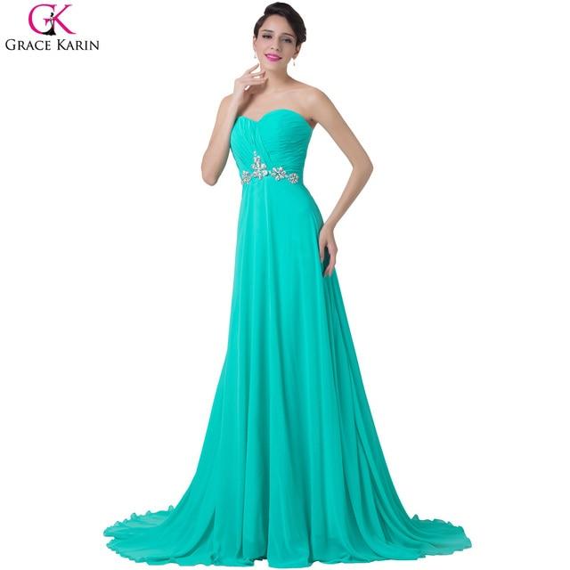 802f8a1a7 Grace karin turquesa vestidos de noche 2017 vestidos de noche formales  vestido de fiesta de gasa