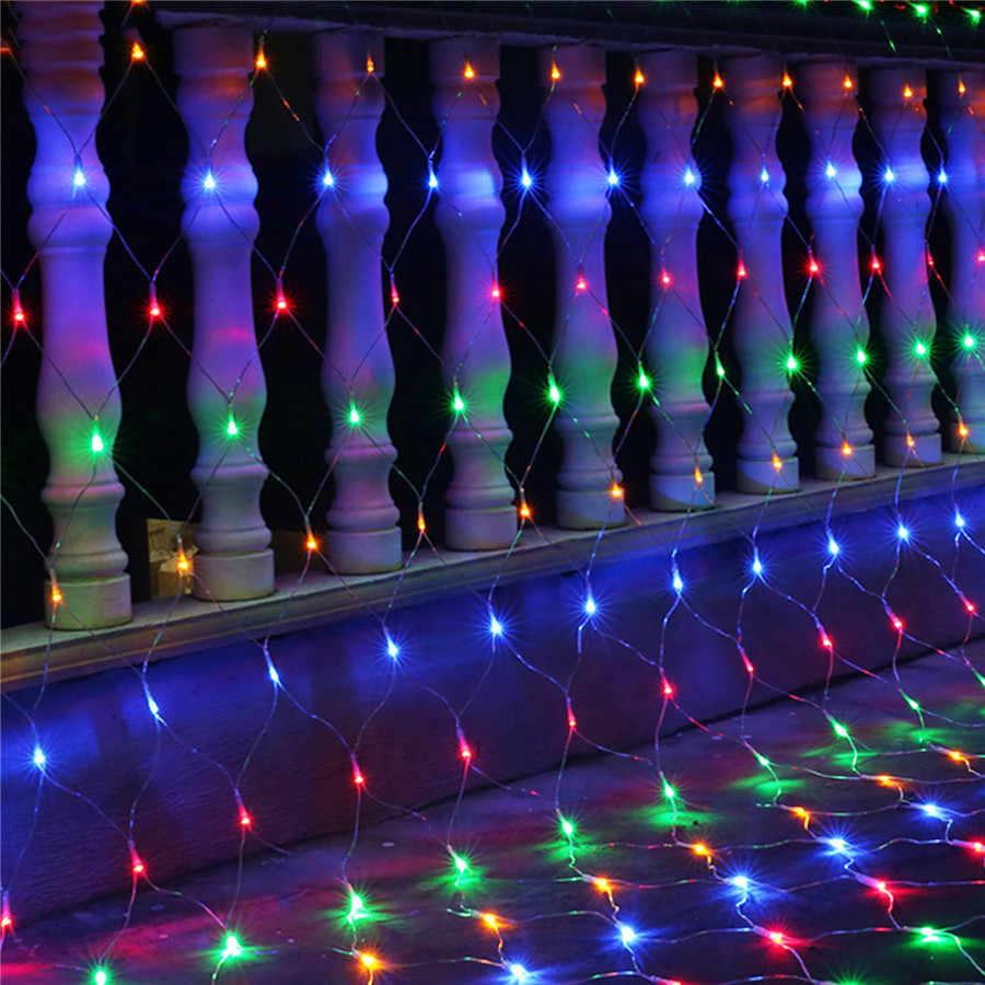 BEIAIDI 2x2 м 3x2 м 6x4 м светодиодный сетчатый Сказочный светящаяся гирлянда оконная занавеска рождественские китайские фонарики Свадебная вечеринка праздничный свет