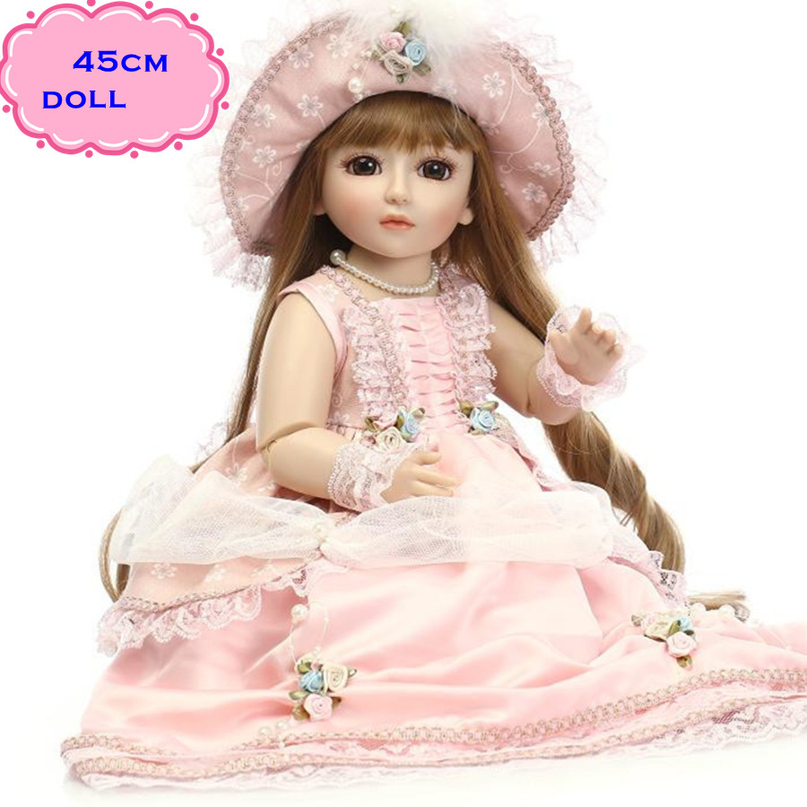 New Arrival 18'' Elegant Full Silicone Vinyl SD/BJD Doll For Kid Miniature Reborny Jointed Doll With Pink Clothes For Dolls Toys handmade chinese ancient doll tang beauty princess pingyang 1 6 bjd dolls 12 jointed doll toy for girl christmas gift brinquedo
