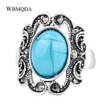 Tibetischen Schmuck Ethnische Großen Blauen Stein Ring Vintage Schwarz Kristall Hohl Silber Überzogene Ringe Für Frauen Freies Verschiffen
