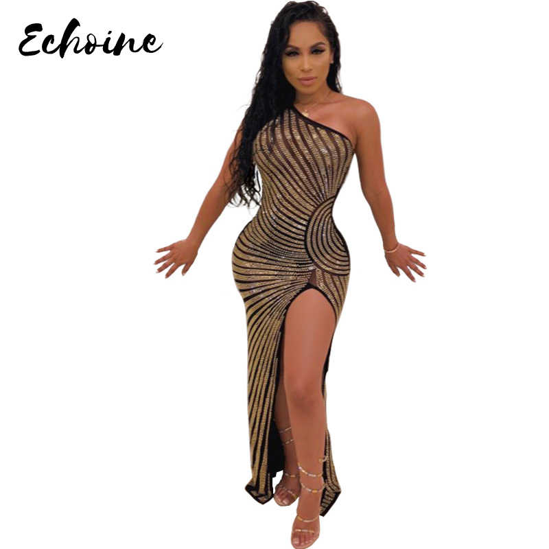 Echoine Women New Fashion Stripes Mesh See Though Hot Drilling Rhinestones One Shoulder High Split Party Club Dresses Plus Size