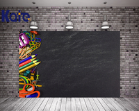 Kate 5X7FT Children Classroom Backdrop Blackboard Cloth Backdrops With Pencil Sharpener Scissors Photo School Background