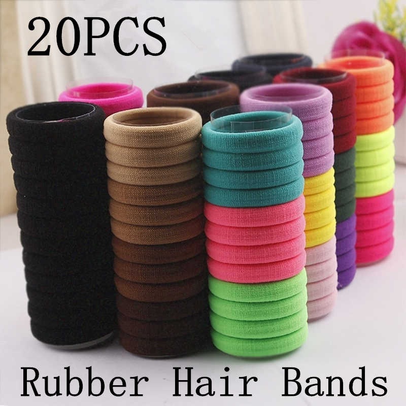 Girls Hair Bands 20pcs/lot Candy Fluorescence Colored Elastic Ponytail Holders Rubber Tie Gum Hair Rope Hair Accessories Black