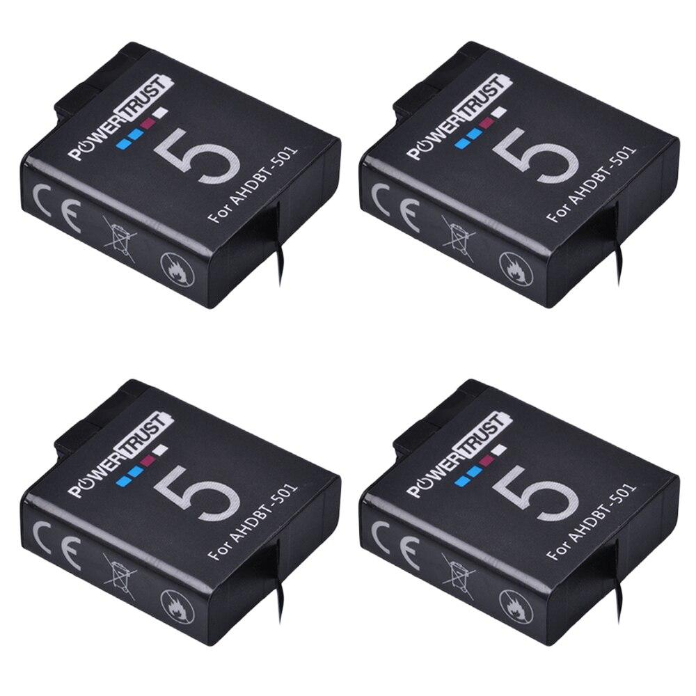 4 Pcs 3.85 V AHDBT 501 1600 mAh Gopro 5 batterie AHDBT-501 AHDBT501 Rechargeable Li-ion Batterie pour Go Pro 5 Gopro hero 5 caméra