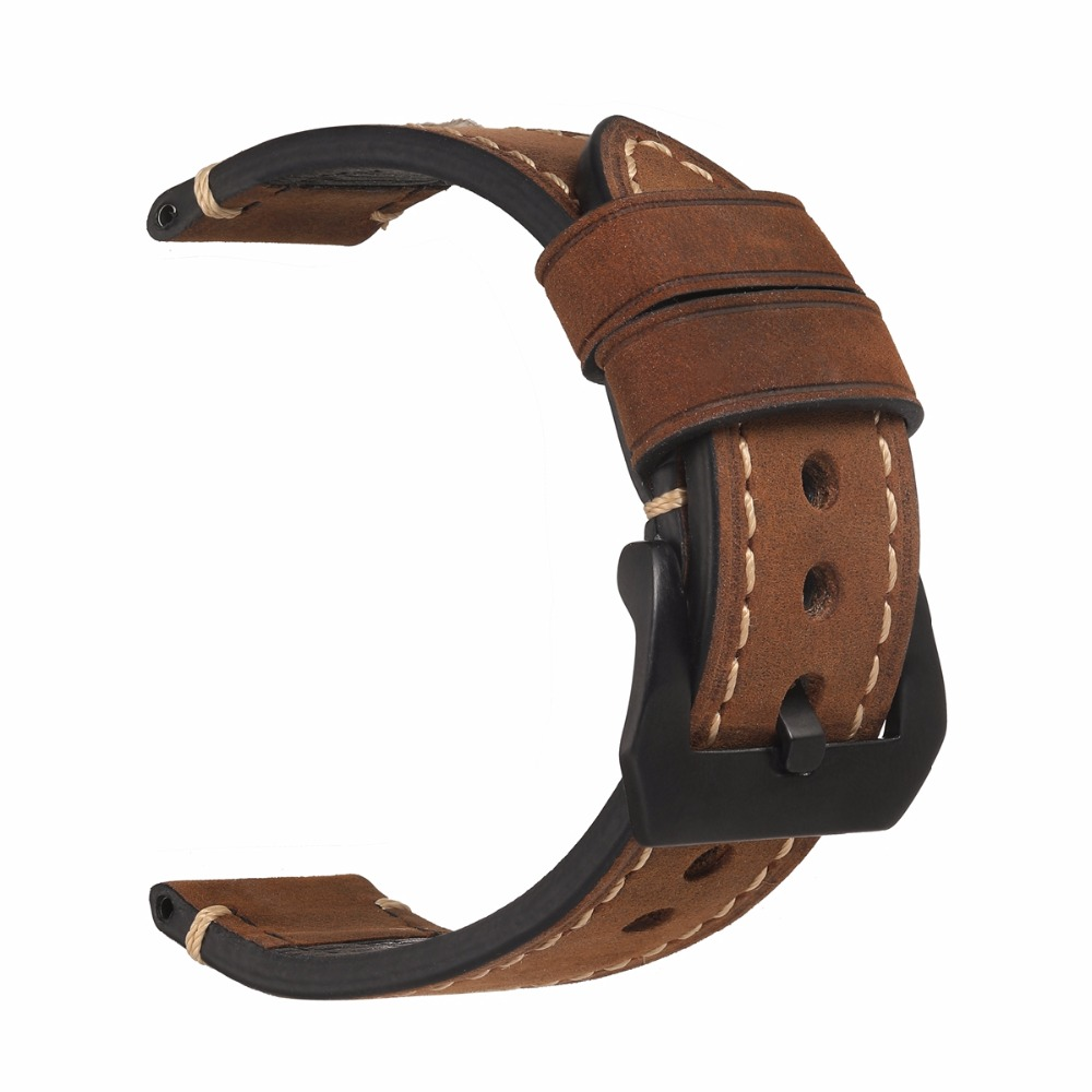 EACHE 20mm 22mm 24mm 26mm Genuine Leather Watch Band Crazy Horse Leather Strap for P Watch  Hand Made With Black Buckles eache 26mm hand made crazy horse genuine leather replacement watch band strap fit for garmin fenix 3 silver black buckle