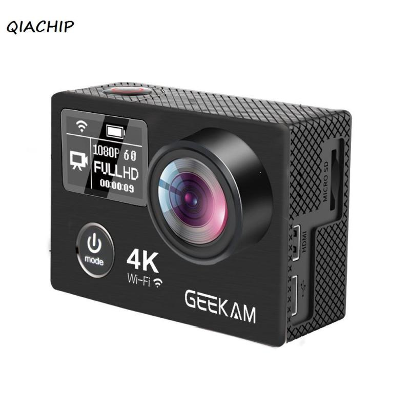 QIACHIP Action Camera UHD 4K 30FPS Wide Angle Lens Waterproof Sport Camera 2 inch LCD Dual Screen 1080P 60FPS WiFi Record Camera 4k 30fps action camera wifi 1080p uhd 2 0 lcd screen 30m waterproof diving 170 degree sport action camera dv camera