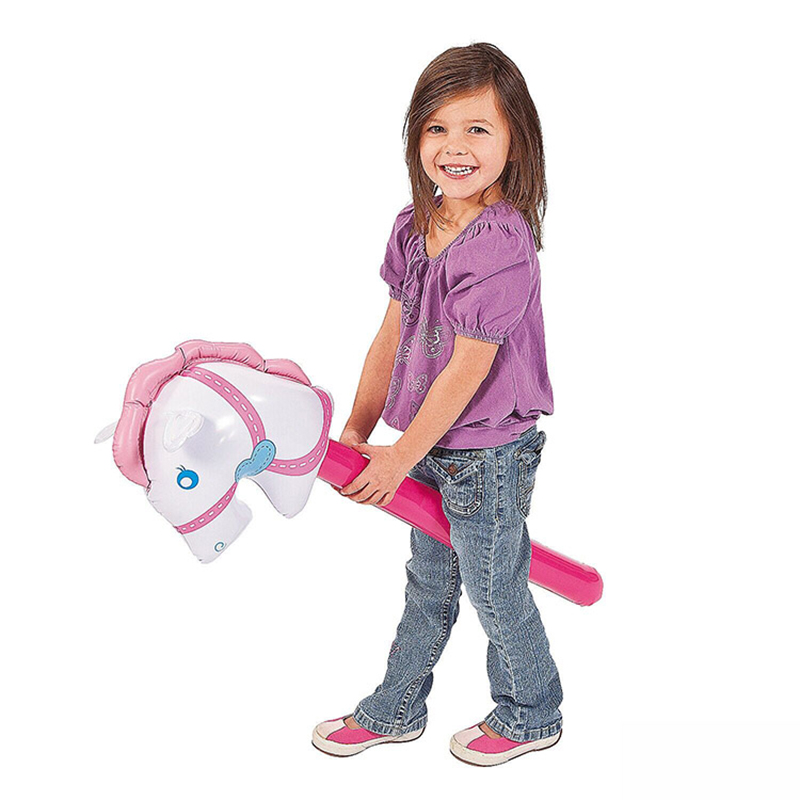 3Pcs/Set Pink Horsehead Inflatable Stick Ride-on Animal Toys For Kids Horse Riding Game Outdoor Plaything Party Supply Blow Up