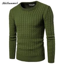 Army Green Winter Men Casual Warm Slim Sweater Knitted Plus Size Long Sleeve Autumn Pullover Male Elastic Sexy Spring Basic Top