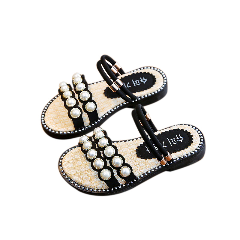 Toddler Girl Summer Rhinestone Pearl Crystal Single Princess Roman Shoes Sandals
