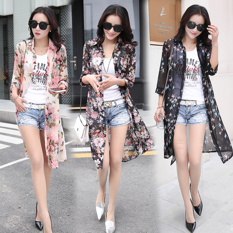 2018 Summer Sun Protection Women Long   Blouses   Super Thin Floral Chiffon Cardigan Half Sleeve Loose Flower Print   Blouse     Shirts