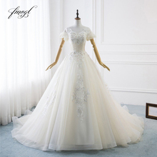 Fmogl Luxury Short Sleeve Wedding Dresses 2019 Chapel Train