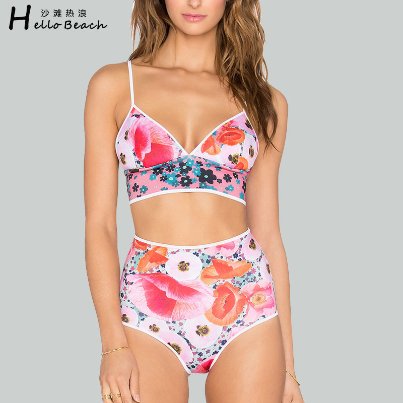 HELLO BEACH Bikini de cintura alta de las mujeres impreso traje de - Ropa deportiva y accesorios - foto 1