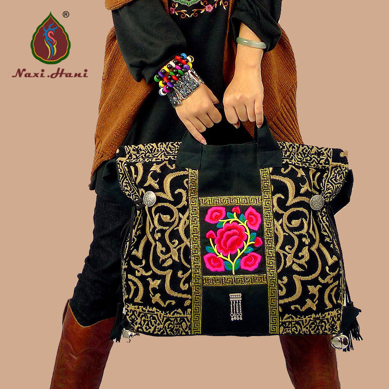 Exotic classic blcak canvas embroidery women Handbags Naxi Hani brand Vintage fashion Ethnic Shoulder bags