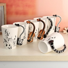 6 Arten Neuheit Violine Gitarre Musik Knochen Griff Keramik Becher Kaffee Tee Porzellan Tasse Cafe Büro Decor Geburtstagsgeschenk