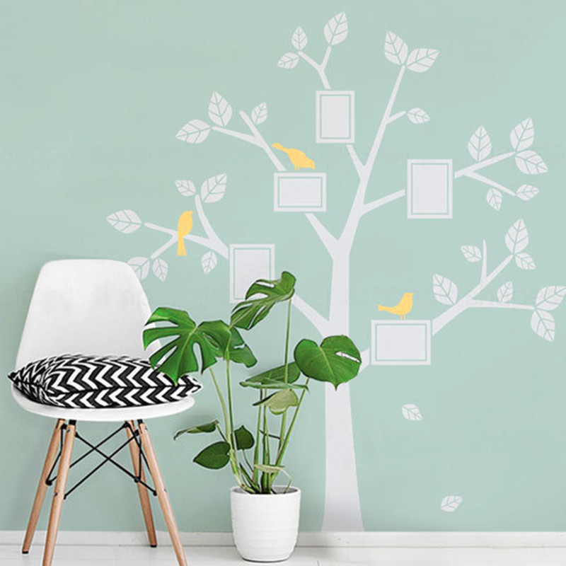 . Huge Family Tree Decal Vinyl Birds Stickers Kids Photos Tree Wall Decals  Nursery Bedroom Wall Art Home Decor Size 67 x 75 5 inch