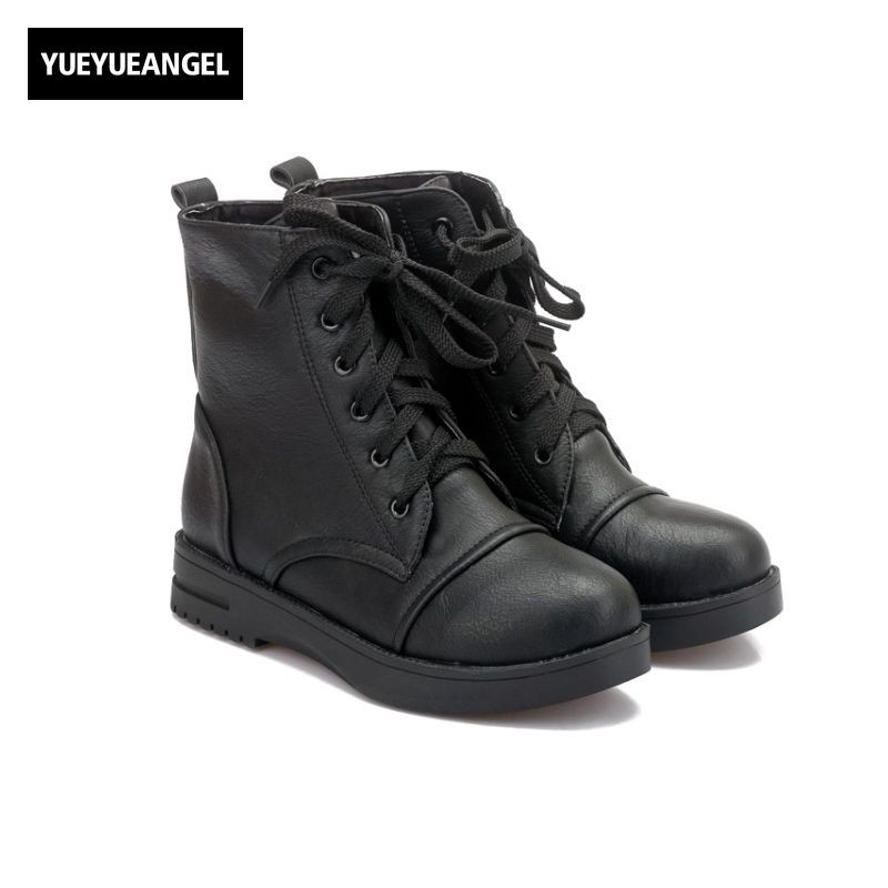 Winter European New Fashion Womens Lace Up Platform Ankle Boots Female Shoes Round Toe Faux Leather Casual Footwear Zapatos