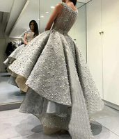 O Neck Ball Gown Lace Applique Beaded Hi Lo Zipper Pearls Ball Gown Silver grey dress Sexy perspective Sheer Straps