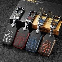 luckeasy car key case cover for honda urv crv 2015 Avancier 240 370 turbo remote Car Key chain leather Fob Cover key holder