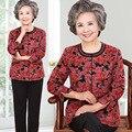 Плюс размер женщин весной и осенью пальто и тяжелое дыхание набор мать три четверти рукавом печати цветочные свободные пиджаки и брюки костюм