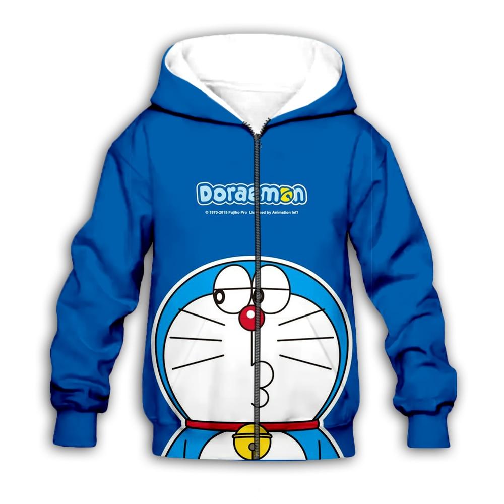 Kawaii Doraemon 3D Print Kids Hoodies Sweatshirt Baby Boy Girl Children Cartoon Anime Hooded Streetwear Set Pullover Suit Pants