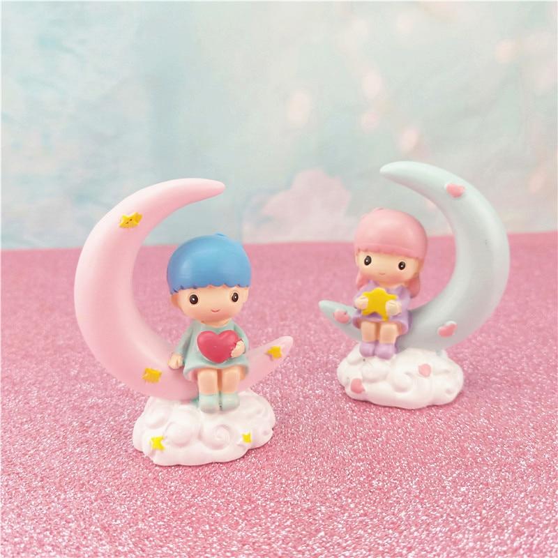 Kawaii Gemini Stars Bobble Head Doll Twins Stars Action Model Car Ornaments Boy Girl Couple Car Decoration Gift For Friend Toys & Hobbies