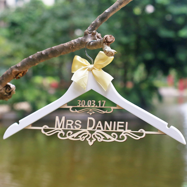 Personalized Wedding Dress Hanger Laser Cut Mrs Bride Bridesmaid Wood Name