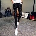 سروال رجالي بعلامة تجارية موضة ملابس رجالية موديل 2018 سروال كوري ضيق غير رسمي بفتحات بنطلون رجل نحيل مريح للرجال بجزء سفلي أسود/أبيض