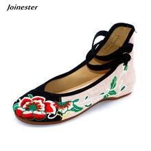 Женские винтажные туфли с вышивкой летние ремешком на щиколотке