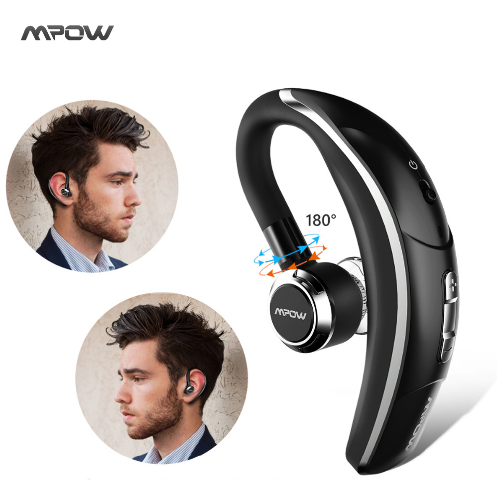 2017 Mpow wireless car headphone portable handsfree bluetooth 4.1 180 rotation earbuds headphone with wicrophone