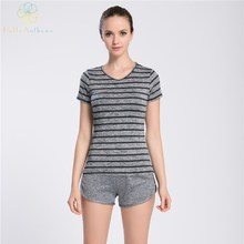 Hello Anthena Women s V Neck Performance T Shirt Smooth Self Fabric Top Moisture Wicking Tee
