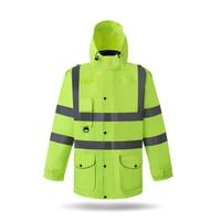 OVUIWEN Светоотражающие хлопчатобумажная одежда строительные работы безопасности погоду куртка съемный безопасности патруль Люминесцентные