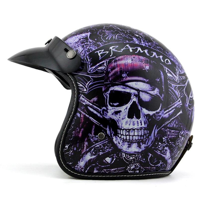 ФОТО Pirates of the Caribbean brammo retro Harley helmet motorcycle helmet half helmet Seasons 3/4 free personalized lenses