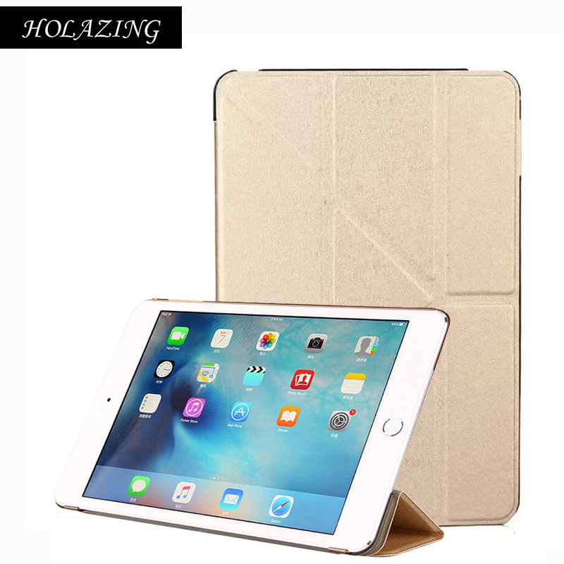 Grass Pattern Removable Multi-fold PU Leather Smart Cover For iPad Mini 4 Magnetic Auto On/Off Stand Case For Mini4