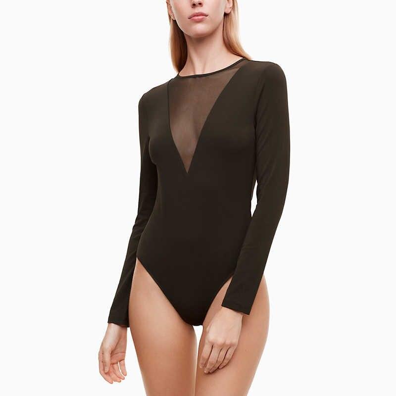 2019 Сексуальная черная сетка Глубокий V боди для женщин; Большие размеры женские Облегающее с длинными рукавами трико девушка тело комбинезон Femme комбинезон