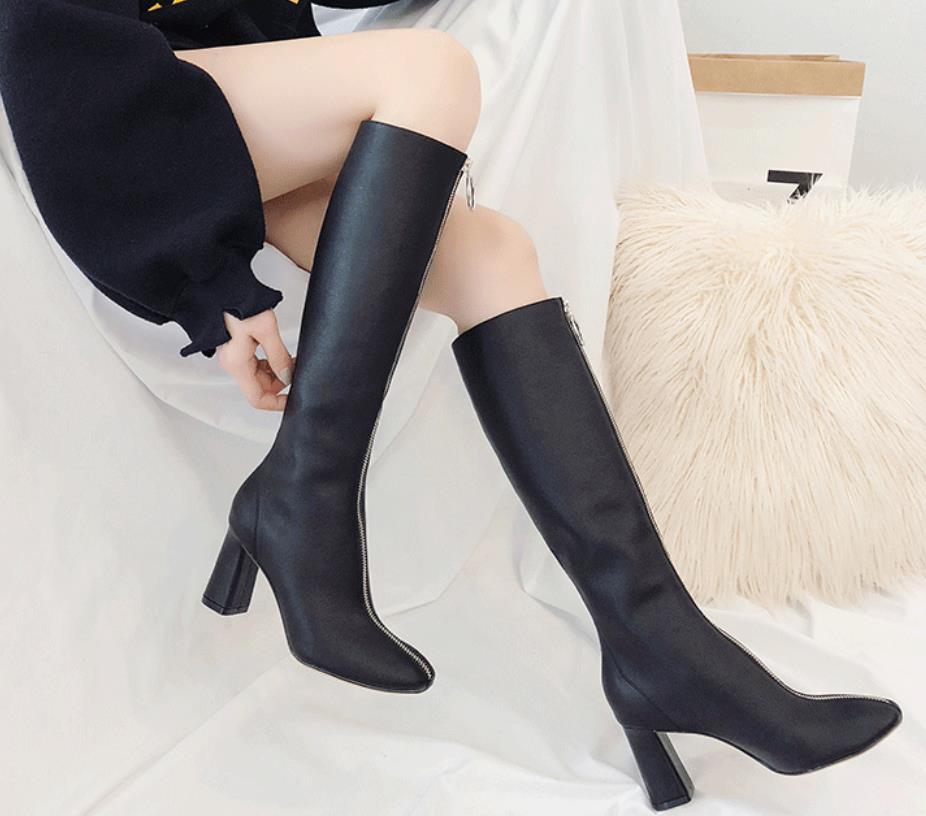 Hiver La Avant blanc Plus Pour en Bootie Pas Mode Éclair Que Est longueur En Genou Un un Les 2019 Noir Femmes Tout SS4Wr1w5q