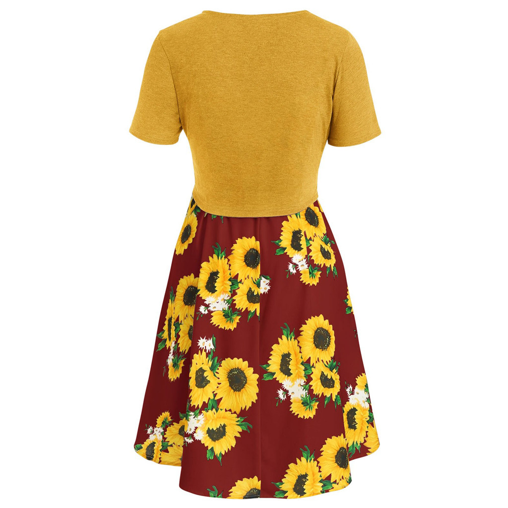 Dresses for Women Summer Casual Short Sleeve Bow Knot Cover Up Tops Sunflower Print Strap Midi Dress Pleated Sun Dress