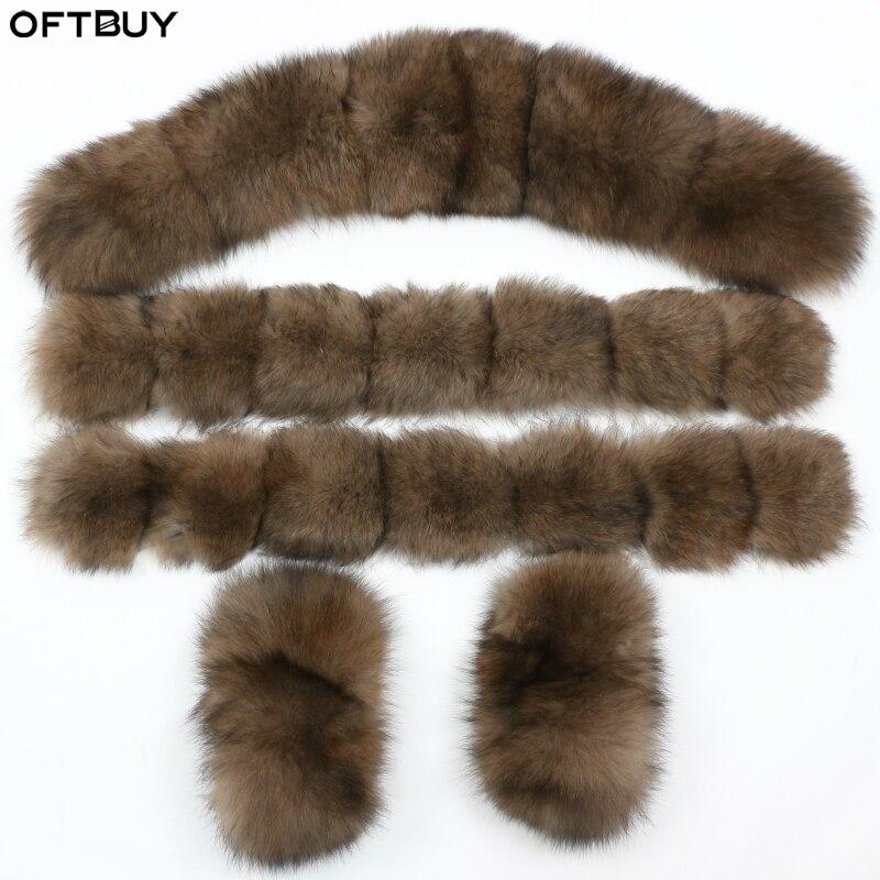OFTBUY 100% col en fourrure véritable manchettes grande fourrure de raton laveur naturel fourrure de renard mode d'hiver