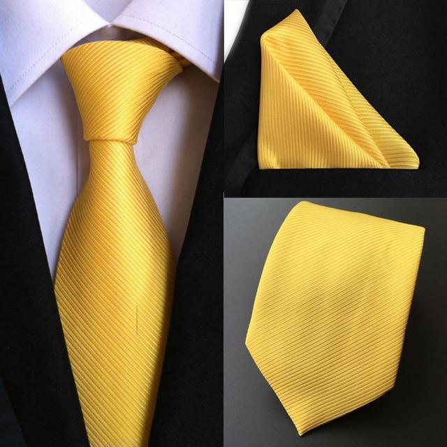 Factory Luxury Men s 100% Silk Tie Set Ties Handkerchief Pure Yellow Stripe Pocket  Square Necktie Business Party Hanky Neck tie 906d63eb60a