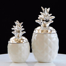 Ceramic Pineapple Figurines Black White Storage Box for Jewelry Accessory Crafts