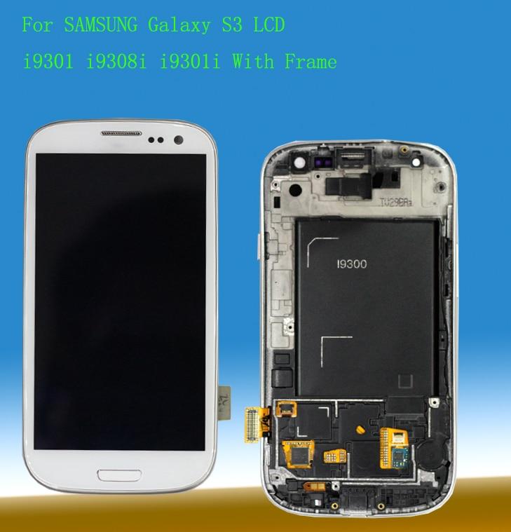STARDE 4.8 ''LCD pour Samsung Galaxy S3 S III i9300 LCD écran tactile numériseur assemblée avec cadre