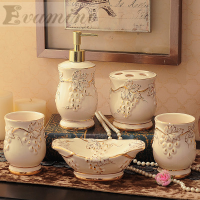 Luxury 5pcs/set Household Wash brush cup, Liquid Soap Dispensers, Soap Dishes China Ceramics bathroom set accessories