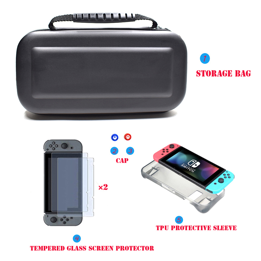 6 in 1 Kit Hard Case Storage Bag for Nintend Switch NS Console&Tempered Glass Screen Protector&TPU Protective Case&Analog caps  1