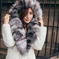С ватиканом 2016 новых зимнее пальто натуральный мех воротник 90% белая утка вниз в длинный тонкий пуховик платье утолщение