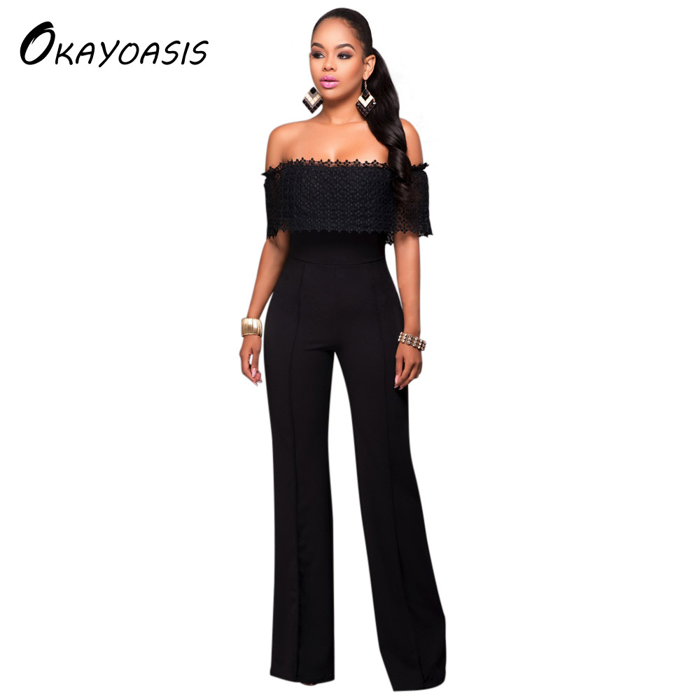 OKAYOASIS Slash Neck Sexy Lady Wide Leg Elegant Party Straight Casual Long Rompers